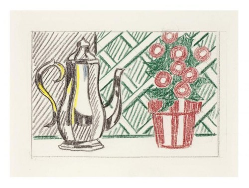 Roy Lichtenstein-Still Life with Coffee Pot and Flower Pot (Study)-1973