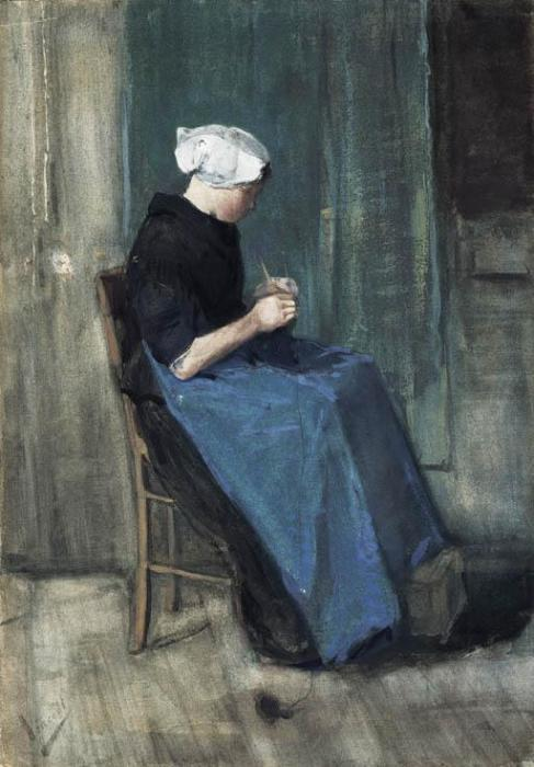 Vincent van Gogh-Young Scheveningen Woman, Knitting: Facing Right-1881