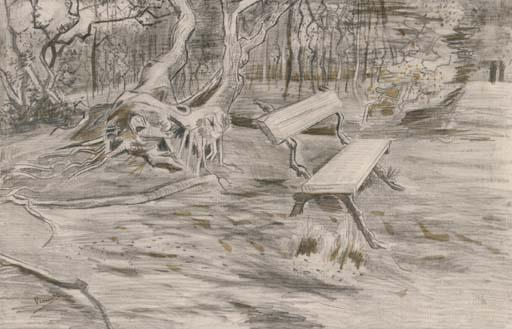 Vincent van Gogh-The Bench-1882