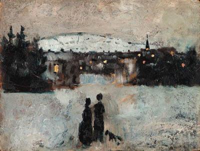 Edvard Munch-Vinterlandskap i Skymning / Winter Landscape, Skymning-1882