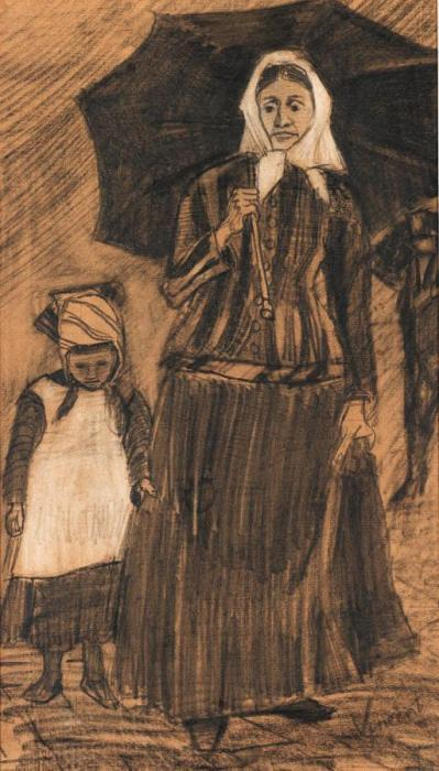 Vincent van Gogh-Sien under an Umbrella with a Girl-1882