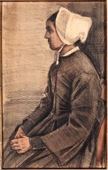 Vincent van Gogh-Woman with white Cap, Half-length-1883