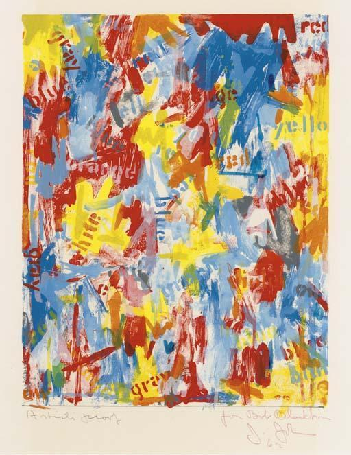 Jasper Johns-False Start (Ulae 9)-1962