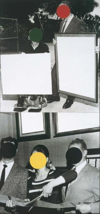 John Baldessari-Cutting Ribbon, Man in Wheelchair, Painting-1988