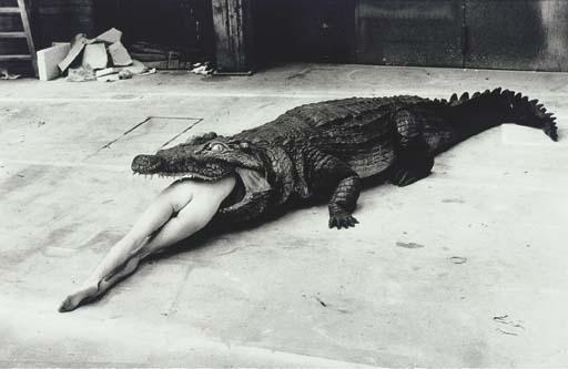 Helmut Newton-Crocodile Eating Ballerina (1983)-1983