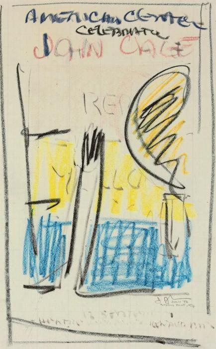 Jasper Johns-Sketch for American Center Celebration John Cage Poster-1982