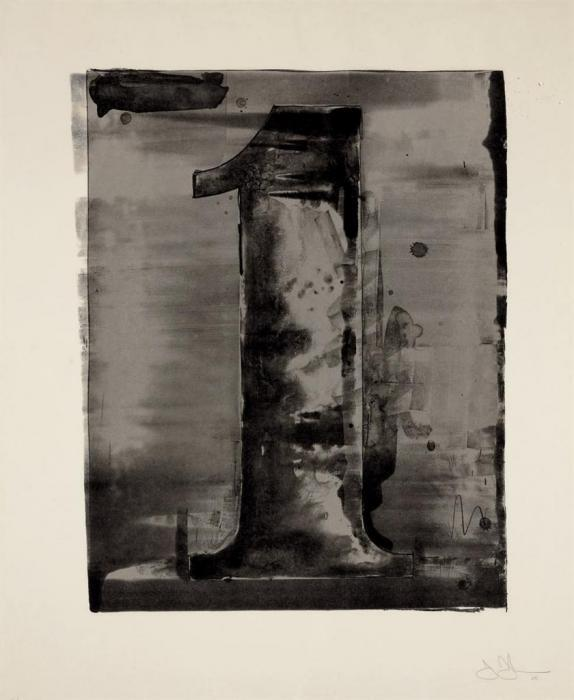 Jasper Johns-Figure 1, from Black Numeral Series (ULAE 45)-1968