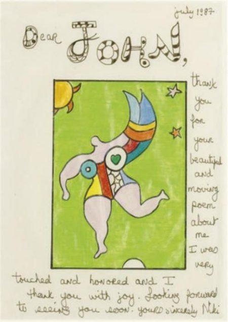 Niki de Saint Phalle-Thank you note to John Cage-1987