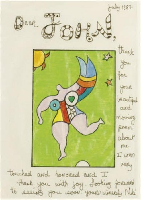 Niki de Saint Phalle-Thank you note to John Cage-1987
