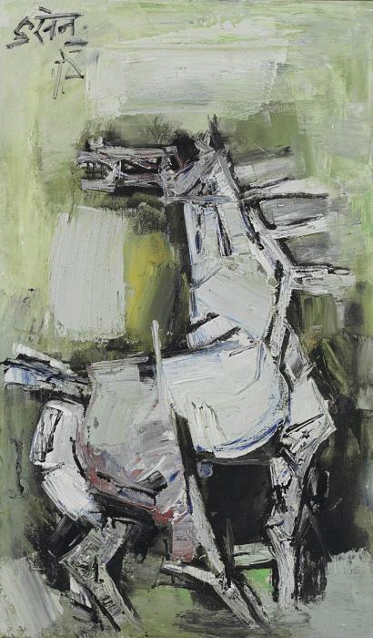 Maqbool Fida Husain-Untitled (Silver Horse)-