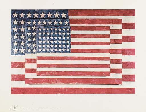 Jasper Johns-Three Flags: (i) Lands; (ii) End; (iii) Savarin-