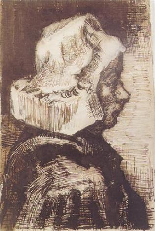 Vincent van Gogh-Head of a Peasant Woman, Facing Right-1884