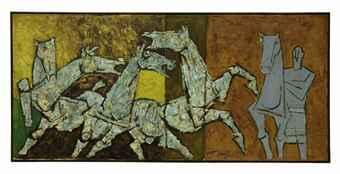 Maqbool Fida Husain-Sprinkling Horses-