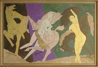 Maqbool Fida Husain-Untitled (The Three Graces)-1990