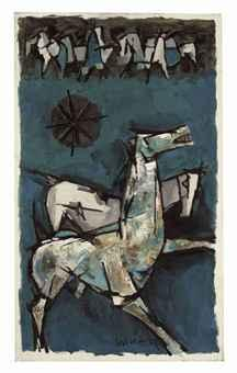 Maqbool Fida Husain-Untitled (Horses)-1959