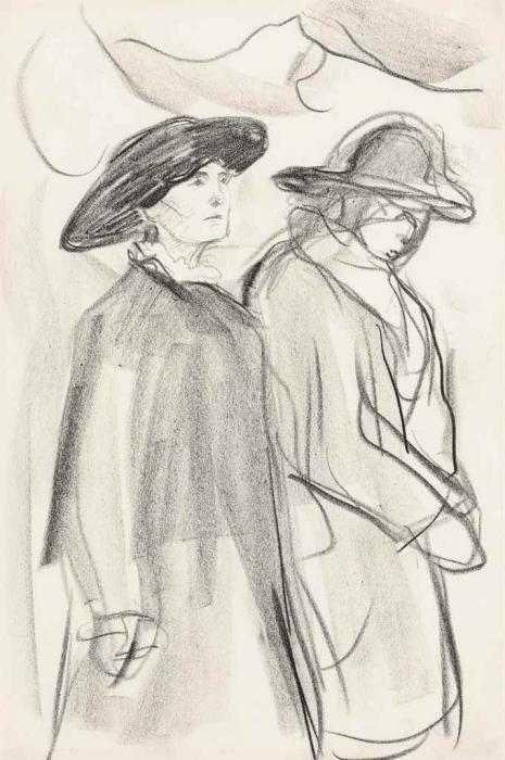 Edvard Munch-To Kvinner med Hatt og Yttertoy / Two Women with Hats and Overcoats-1920