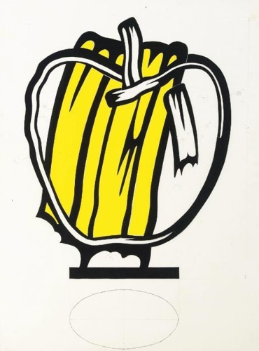Roy Lichtenstein-Collage for Yellow Apple-1980