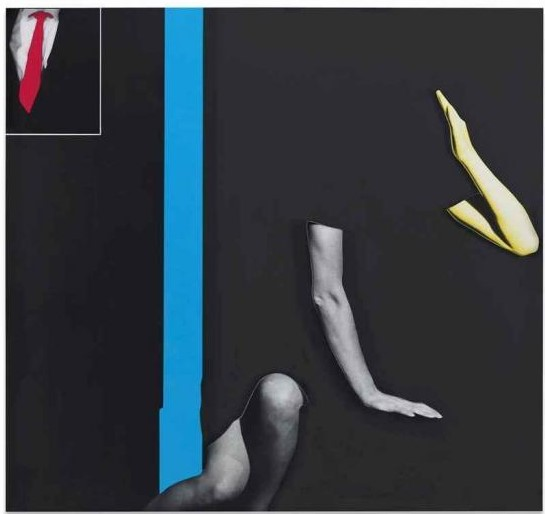 John Baldessari-Arms & Legs (Specif. Elbows & Knees), etc. (Part Two): Elbows, Knees, Shirt and Tie (with Blue Barrier)-2008