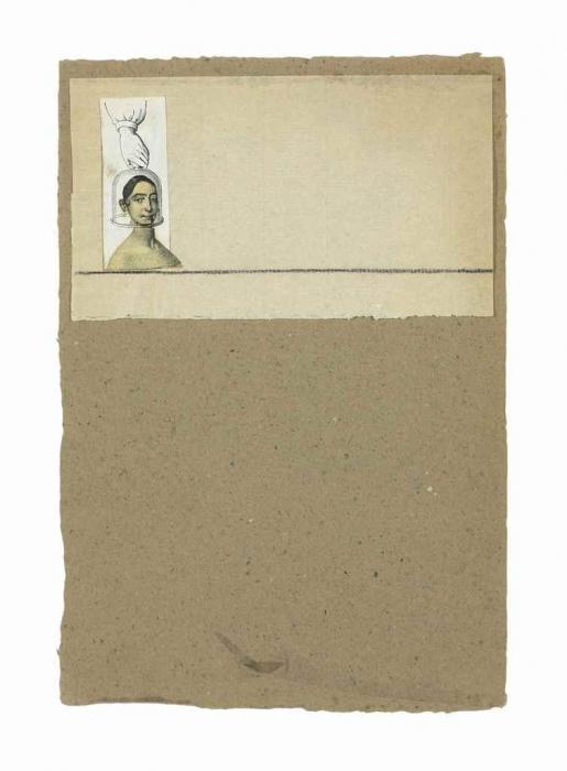 Robert Rauschenberg-Robert Rauschenberg - Untitled (Female Head Under Glass)-1952