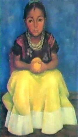 Diego Rivera-Seated girl, nina de Tehuantepec-1936