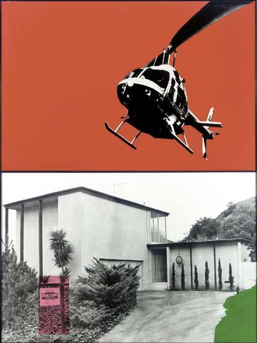 John Baldessari-Helicopter over Tract House with Red Sky-1990