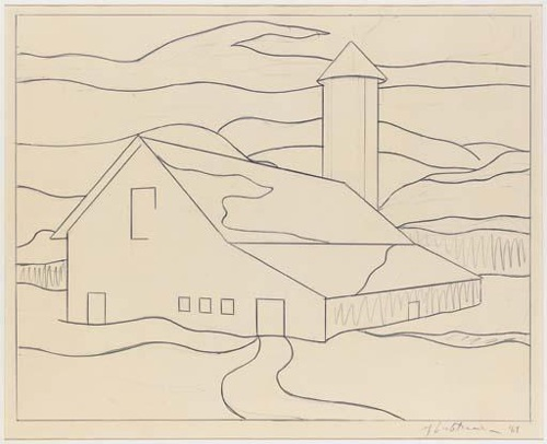 Roy Lichtenstein-Drawing for Red Barn II-1969