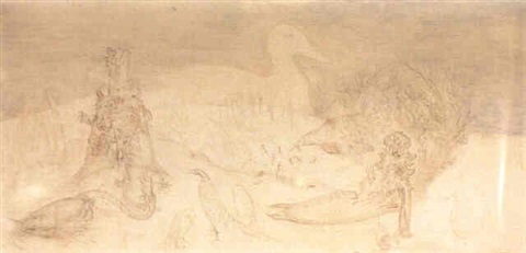 Leonora Carrington-Sketch for The Wishing Well-1962