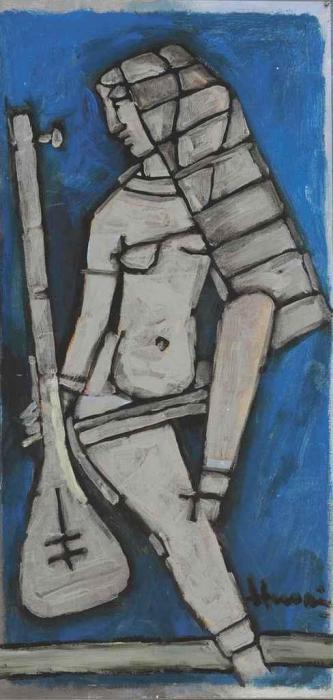 Maqbool Fida Husain-Untitled (Saraswati)-