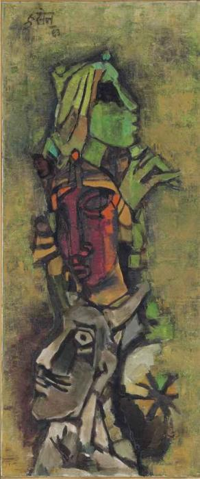 Maqbool Fida Husain-Untitled (Totem Masks)-1963