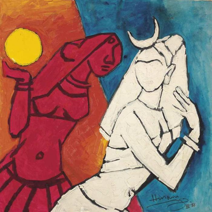 Maqbool Fida Husain-Untitled (Surya and Chandini)-1986