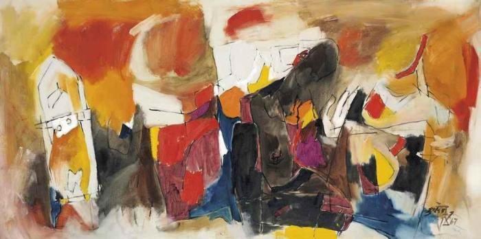 Maqbool Fida Husain-Orchestration Red-1967