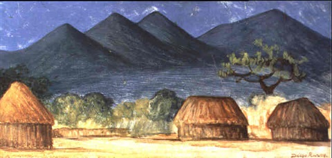 Diego Rivera-Paisaje con Chozas-1934
