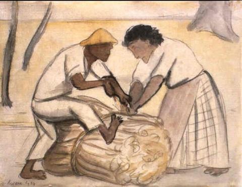 Diego Rivera-Atando cana de azucar-1934