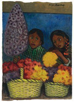 Diego Rivera-Two Girls with Flowers-