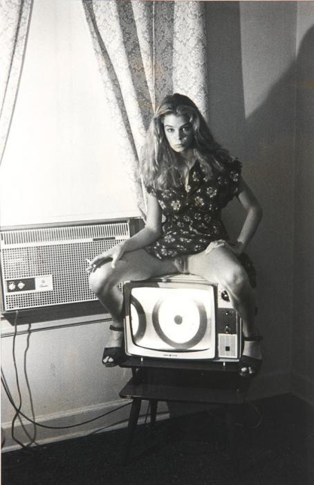Helmut Newton-Kristin Bell (sitting On A Tv Set) (1976)-1976