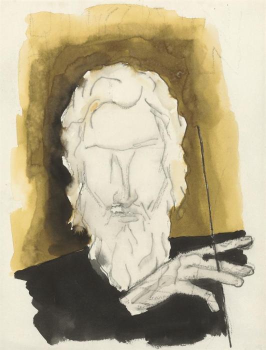 Maqbool Fida Husain-Untitled (Self Portrait)-1987