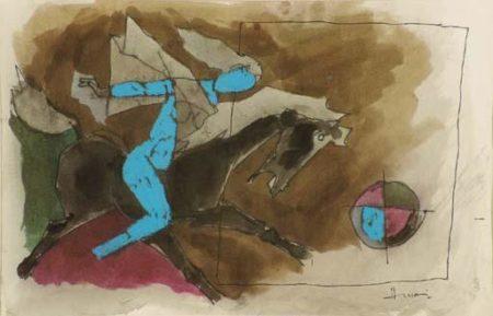 Maqbool Fida Husain-Horse and Rider-