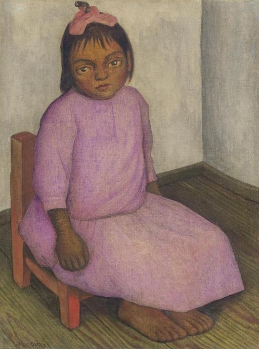 Diego Rivera-Nina con vestido rosa-1930