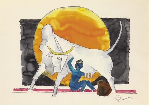 Maqbool Fida Husain-Krishna-1972