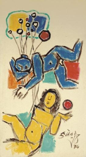 Maqbool Fida Husain-Untitled (Two Figures)-1974