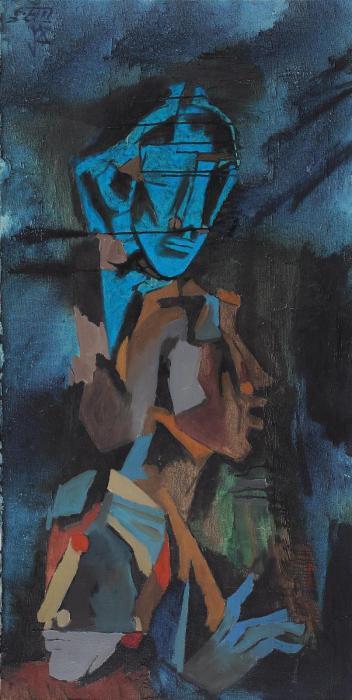 Maqbool Fida Husain-Untitled (Three Heads)-