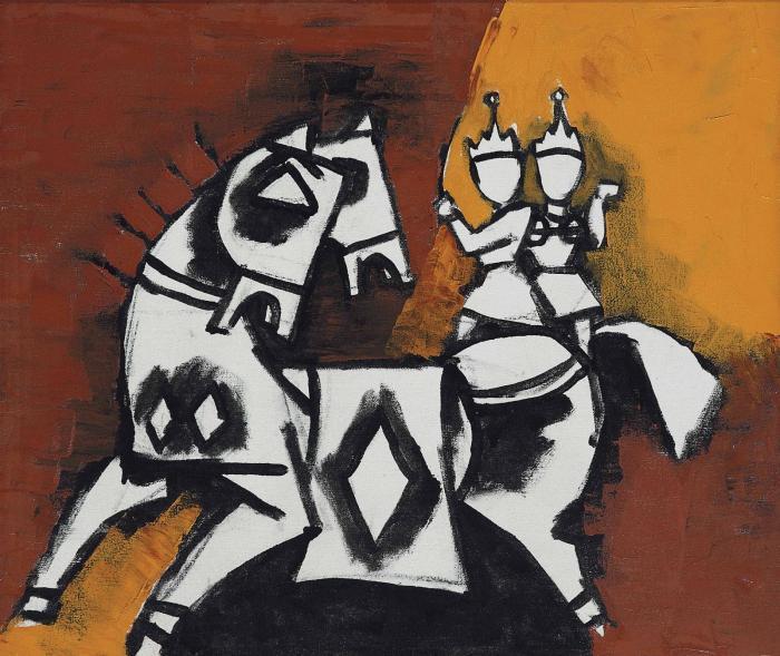 Maqbool Fida Husain-Untitled (Couple on a Horse)-1988