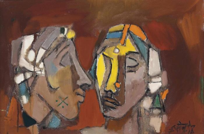 Maqbool Fida Husain-Untitled (Two Heads)-