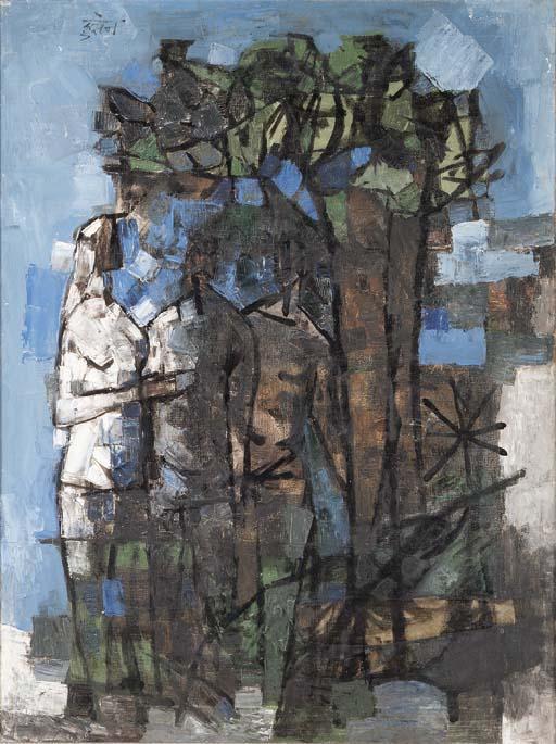 Maqbool Fida Husain-They Came By A Blue Tree-