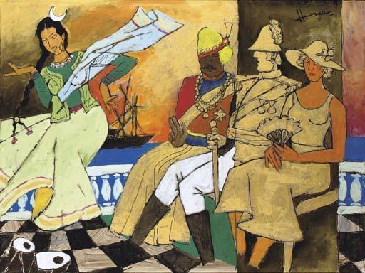Maqbool Fida Husain-Untitled (Interior with seated figures)-