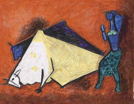 Maqbool Fida Husain-Figure with Bulls-