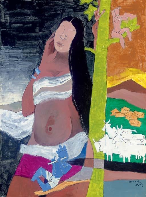 Maqbool Fida Husain-Bal Krishna Rural India-