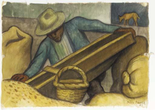 Diego Rivera-Escena con trabajador (Working scene)-1934