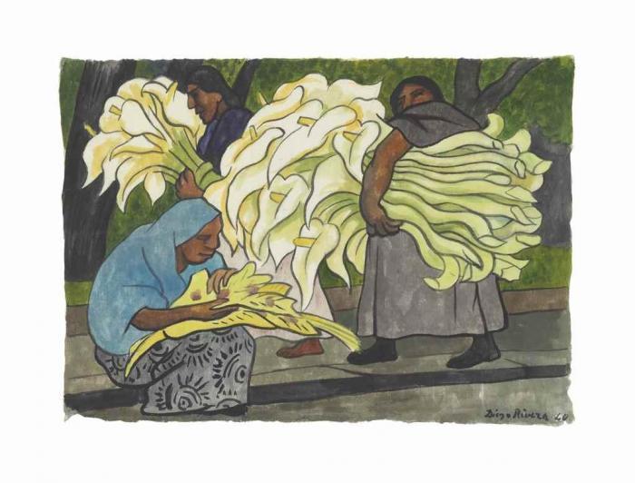 Diego Rivera-Cargando alcatraces (Tres mujeres, una sentada)-1940