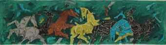 Maqbool Fida Husain-Untitled (Seven Horses)-1980